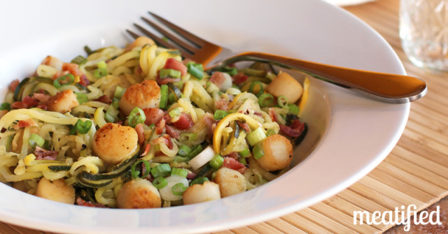 ROTW – Zucchini Noodles with Scallops & Bacon